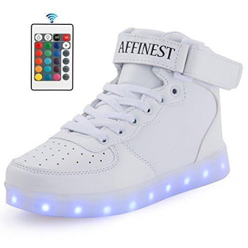 AFFINEST Unisexe chaussures enfant High Top LED chaussures clignotant chaussures de sport pour les enfants Blanc