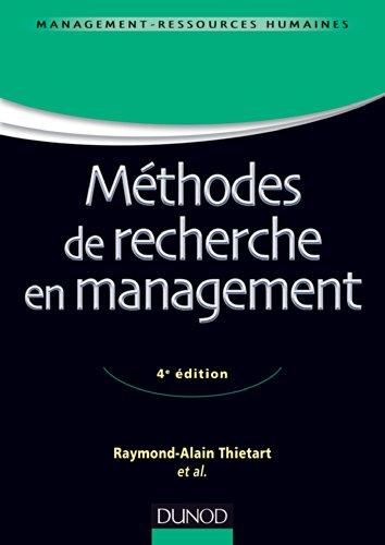 Méthodes de recherche en management - 4ème édition (Stratégie master t. 1)