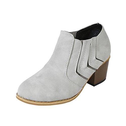 Stiefel damen Kolylong® Frauen Elegant Stiefeletten mit absatz Vintage Martin Stiefel Warm Stiefel Kurz Mädchen Freizeit Schuhe High Heel Ankle Boots (39, Grau) (Pelz Schuh Gefüttert Tasche)