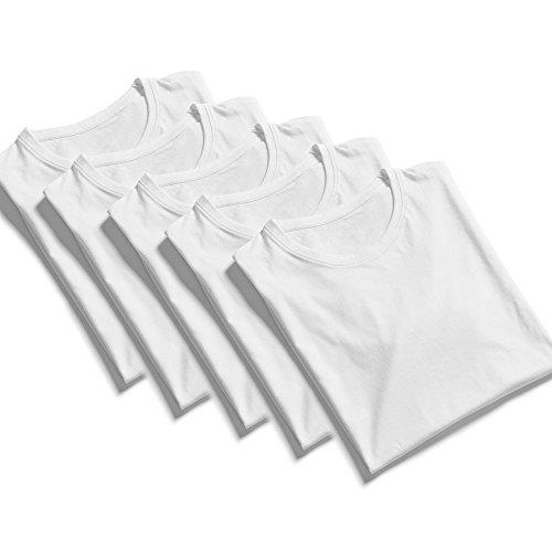 100% Baumwolle T-Shirt Herren in weiß 5 Stück - Basic T-Shirt mit Rundhals Form - Angenehm und Leicht zu Tragen - Klassisches Freizeit Shirt für Männer