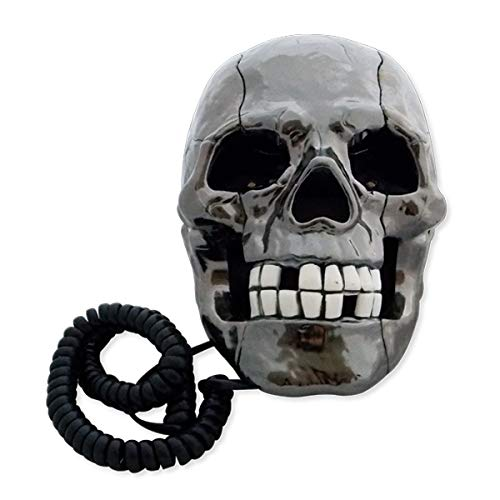 TotalCadeau Schnurgebundenes Telefon Festnetz Totenkopf Lichterkette weiß