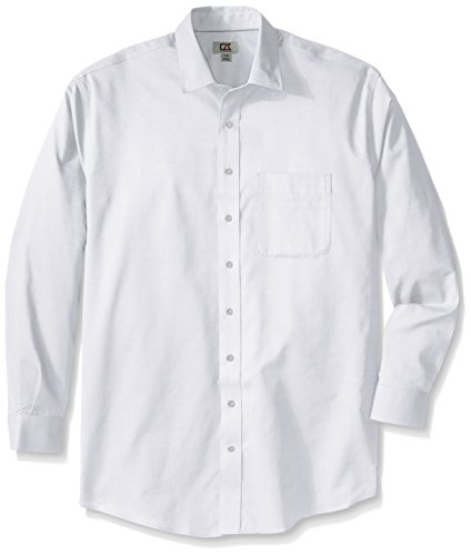 Cutter & Buck Men's Big and Tall Long Sleeve Easy Care Spread Collar Nailshead, White, Tall/Large -