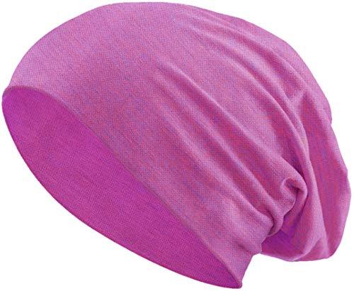 Jersey Baumwolle elastisches Long Slouch Beanie Unisex Mütze Heather in 35 (3) (Pink-Blue)