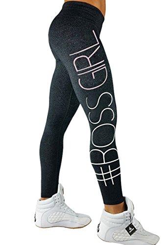 Shelers BOSS GIRL Damen Skinny Leggings Jogging Training Sporthose Push Up Yogahose 2017