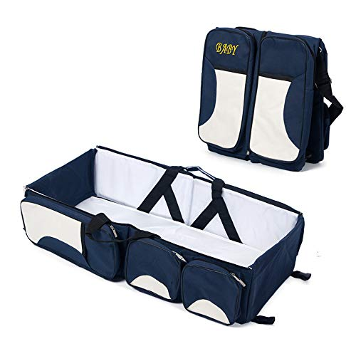 3 in 1 Wickeltaschen für Babys, Multifunktional tragbar Baby-Reisebett Krippe Wickeltasche Faltbar Tragetasche für 0-12 Monate, Dunkelblau