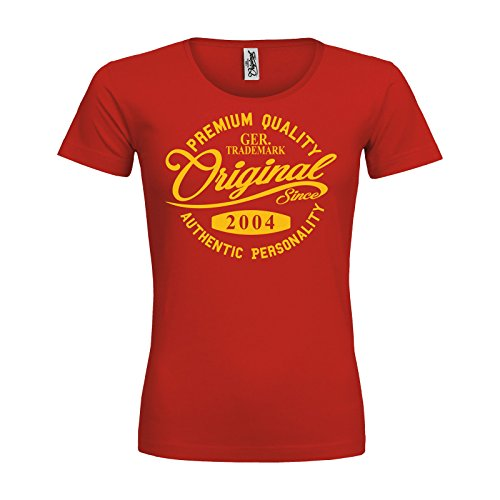 2004 Gelben T-shirt (MDMA Frauen Premium T-Shirt Original Since 2004 Handwriting Premium Quality Textil red / Motiv gelb / Gr. L)