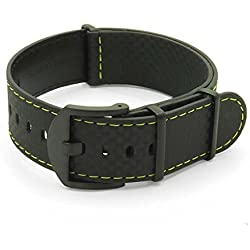 DASSARI Stealth Carbon Fiber NATO G10 Zulu Black w/ Yellow Stitching Leather Watch Strap w/ Black Hardware 22mm
