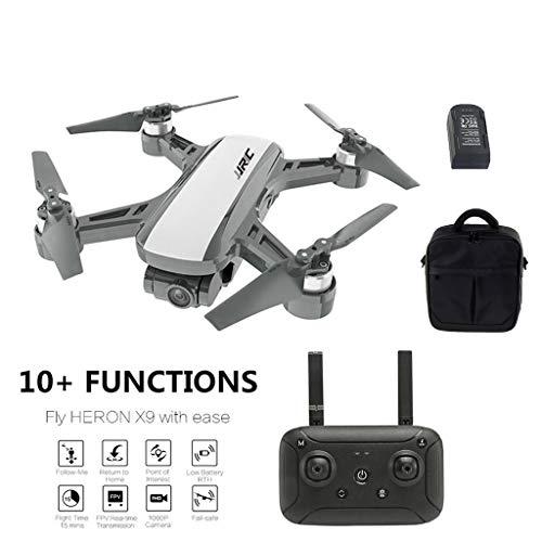 quadcopter con camara+Bolsa de Almacenamiento,JJR / C Heron X9 GPS 5G WiFi FPV Aviones no tripulados 1080PHD cámara Quadcopter con Bolsa Motor sin escobillas Quadcopter.⭐⭐⭐⭐⭐ recomendación. (Blanco)