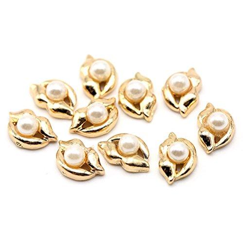 Five Season 10 pcsBling Decoration Perles Bijou Cristal Accessoire Alliage Nail Art Manucure Forme Levre, 1.2*0.7cm, Or*Blanc