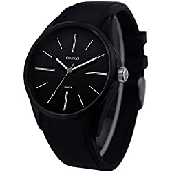 Comtex Men's Simple Black Tone Watches with Silicone Strap and Water Resistant to 30M