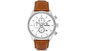 Montre bracelet de luxe Vincero Chrono S pour homme - Argenté avec bracelet en cuir tanné - Montre Chronographe 43mm - Mouvement à quartz japonais