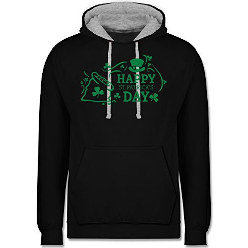 Festival - Happy St. Patricks Day Badge - Kontrast Hoodie Schwarz/Grau Meliert