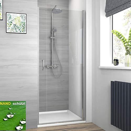 Meykoe Duschtür 80x185cm Nischentür Duschabtrennung mit Schwingtür aus ESG Sicherheitsglas mit Nano Beschichtung