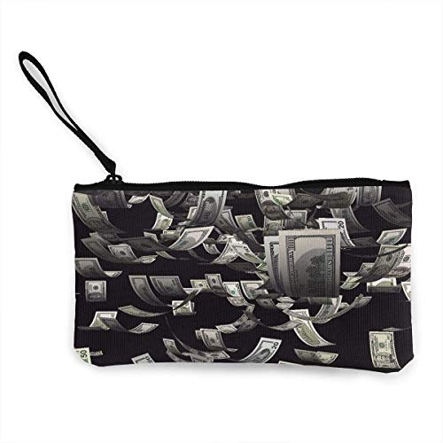 TTmom Damen Leinwand Geldbörse Portemonnaie Geldbeutel, Lady Wristlet Wallet Clutch for Smartphones with Wrist Strap Card Coin Purse Case - USA Dollar Bill Painting