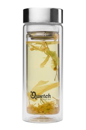 Qwetch QT5020 Théière en Verre Borosilicate Double Paroi Isotherme 350 ml Transparent
