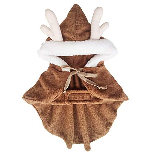 MCYs Haustier Weihnachtskleid Haustier Hundregen Mantel Kleidung braune Umhänge Hunde