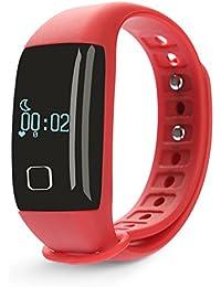 iMusi Bracelet Concecté Temps Réel Montre de Sport Fitness Etanche IP67 - Rouge