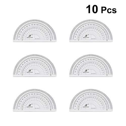 OUNONA 10 stücke Klar Kunststoff Winkelmesser Mathematik Winkelmesser 180 Grad Winkelmesser Für Winkelmessung Student Schule Bürobedarf (Wie Zu Maßband Lesen, Ein)