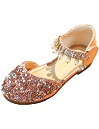9774ea874cd28 NINGSANJIN-bebe Bébé Fille Princesse Chaussures Ballerines Paillettes Mary  Jane Chaussures Princesse Platform Fille Sandals