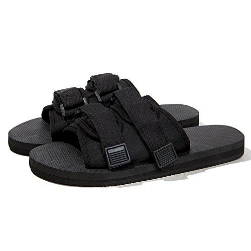 DogHaccd pantofole,Pantofole uomini soggiorno estivo in bagno antiscivolo trend spessa per le coppie, abbigliamento per il tempo libero flat pantofole Nero4