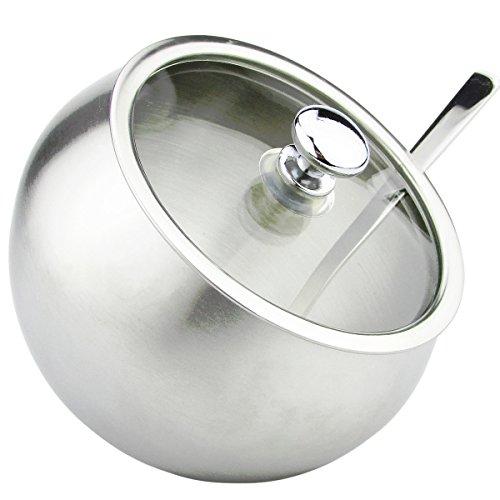 Zuccheriera con coperchio e cucchiaio, corpo in acciaio inox 304 e coperchio in vetro pulito, contenitore per condimenti inclinato vasetto per spezie per sale, zucchero, caffè, tè ed erbe