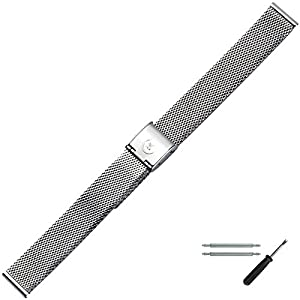 MARBURGER Uhrenarmband 14mm Edelstahl Silber – Mesh/Milanaise – Uhrband Set 80701140020