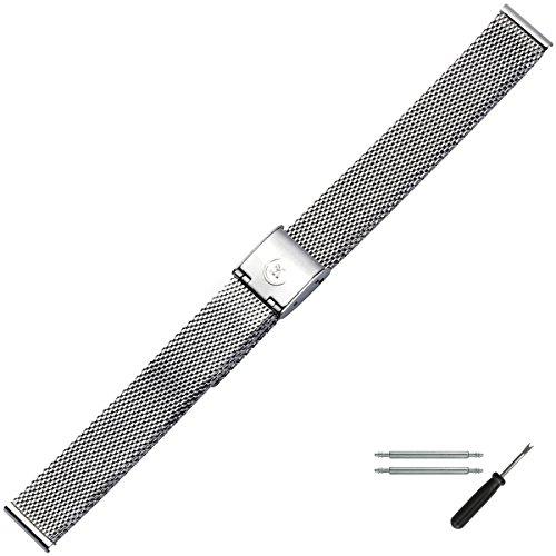 MARBURGER Uhrenarmband 14mm Edelstahl Silber - Mesh/Milanaise - Uhrband Set 80701140020 (Metall-uhrenarmbänder Frauen Für)