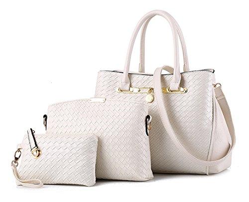 Tibes sac à main de mode Femmes cuir PU sacs Set de 3P sac tissé Sac bandoulière de luxe Sac de filles B blanc