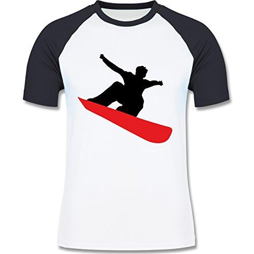 Wintersport - Snowboard schnelle Abfahrt - zweifarbiges Baseballshirt für Männer Weiß/Navy Blau