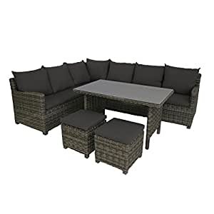Amazon.de: greemotion Rattan-Lounge Set Miami 6tlg