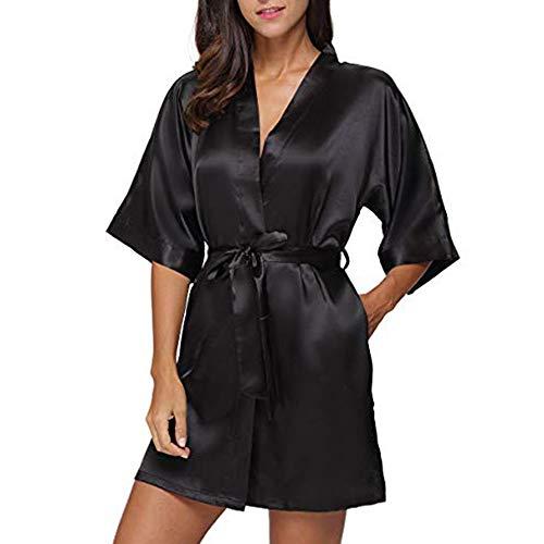 HULKY Solde Donna Pigiama Kimono, Scollo V Elegante Vestaglia Corta in Raso, Camicia da Notte con Cintura Praka Boho(Nero,Medium)