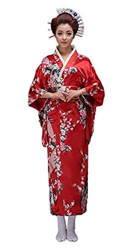 CRB Fashion Kimono japanischer Damen-Kostüm, traditioneller Stil Yukata-Kostüme - Rot - (Japanische Dame Adult Kostüm)