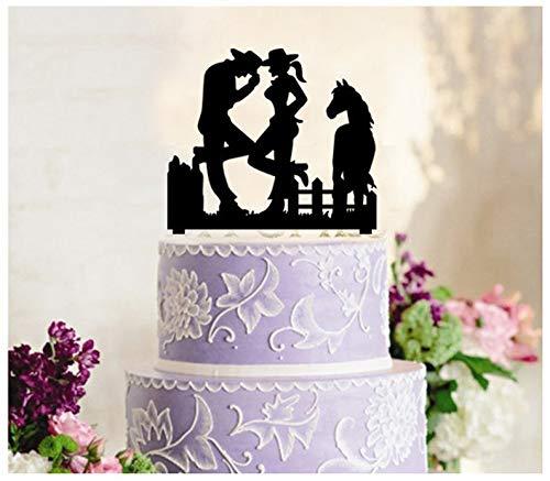 fsatz, Cupcake-Topper, Jahrestag, Hochzeit, Geburtstag, Party, Cowboy-Cowgirl-Western-Silhouette ()