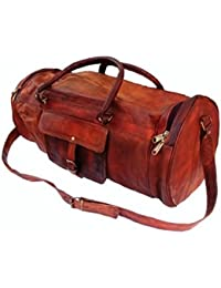 COOL BAG Men's Genuine Leather Vintage Duffle Gym Travel Luggage Bag