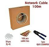 Multi-cable - Haute Qualité Cat5e Câble Réseau Ethernet - CCA - RJ45-100 mètres vec un pince à sertir et attaches de câble - Gris - UTP