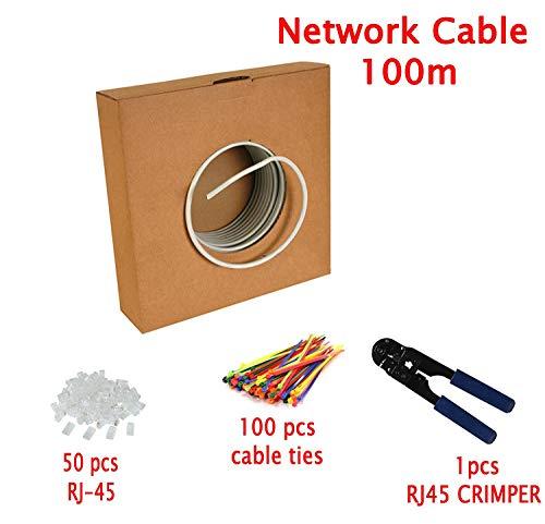 MutecPower CAT5E Patchkabel 100m - UTP - Ethernet Netzwerkkabel/Ethernet Kabel - Grau - Mit Crimpzange - 50 RJ45 pcs - CCA - 100 Meter