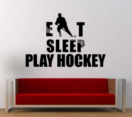 Eat Sleep Spielen Hockey Worte Vinyl wandaufkleber Hockey Player Sport Wandtattoos Kindergarten Jungen Kinderzimmer Dekor Gym wohnheim wandbild 84X56CM (Hockey Minion)