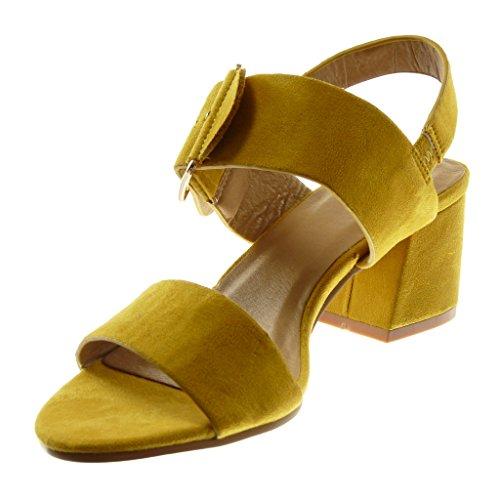 Angkorly Chaussure Mode Sandale Escarpin Lanière Cheville Femme Boucle Lanière Talon Haut Bloc 5.5 cm Moutarde