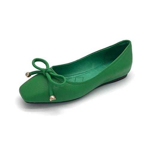 Damen Slipper Eckig mit Prägung Schleife Süß Elegant Slip on Einfach Leicht Weich Rutschhemmend Strapazierfähig Modisch Schuhe Grün