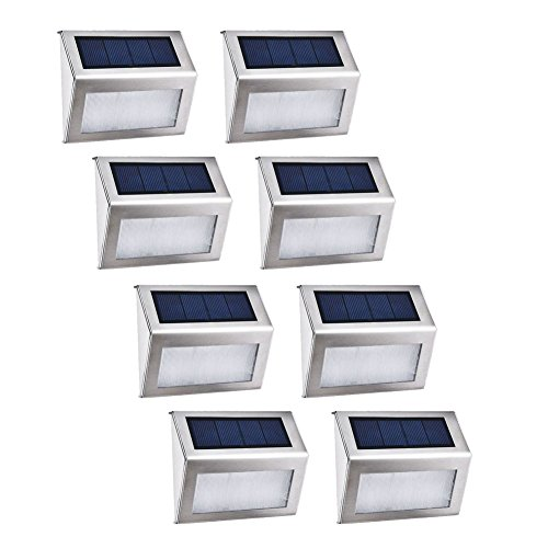 8X Luz Solar Jardin, Blanco Frío 3 LEDs Ilumina Para Jardín Apliques...