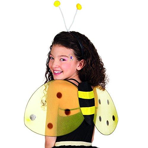 Amakando Bienenflügel und Bienenhaarreif - gelb-schwarz - Bienenkostüm Set | Hummel Verkleidung Biene Kostüm Wespen-Kostüm-Accessoire Damen Bienenkostüm Set