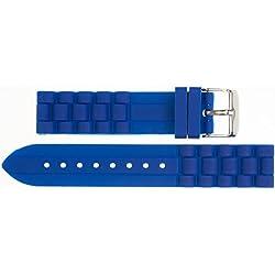 24mm Kaiser Watches Silicone Watch Strap Band Dark Blue 24mm Buckle: White