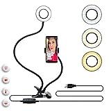 MONEIL Clip on Selfie Anillo de luz con soporte para teléfono móvil para Live Stream y Makeup,Flexible cuello de cisne brazo de la abrazadera de las luces LED Dimmabl [3 modos de luz] [10 niveles de brillo] para iPhone, teléfono Android