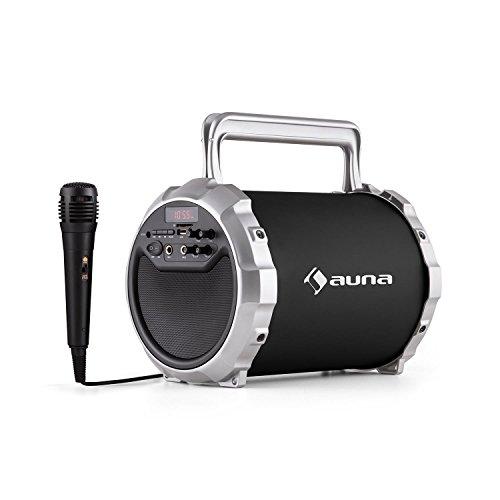 auna Dr. Bang! 2.1 cassa acustica dispositivo speaker portatile (Bluetooth, batteria integrata, porta USB SD MP3, ingresso AUX, microfono incluso) - nero