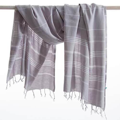 Anatures playa grigio chiaro - asciugamano hammam - 100% cotone - prelavato - teli mare – hammam towel - telo mare - baby coperte – turkish towel - pestemal – fouta