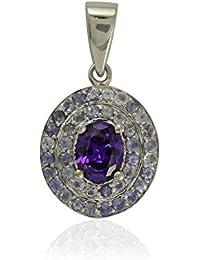 Shine Jewel Pendiente de Plata de Ley 925 de tanzanita y circonita cúbica