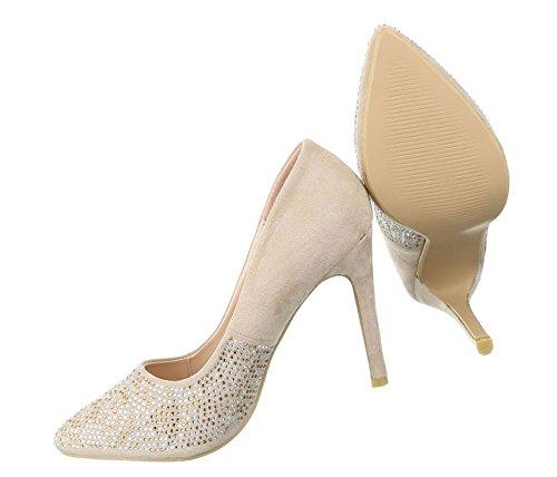 Damen Pumps Schuhe High Heels Stöckelschuhe Stiletto Beige Multi 37 92h00NtXGn