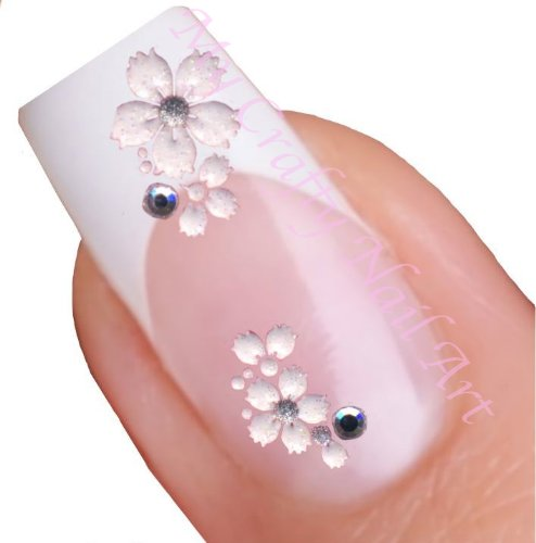 Price comparison product image White Flower Daisy Nail Stickers Art / Decals with Rhinestone