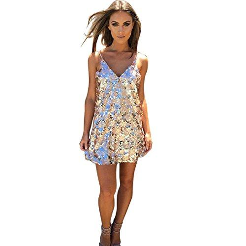 Handschuhe Kleid Kurzes (Damen Kleider Xinan Rückenfreie Pailletten Kleid Cocktail kurze MiniKleid (M,)
