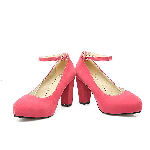 CXQ-Heels QIN&X Frauen Runder Block High Heels Flache Mund Prom Hochzeit Pumps Pumpen, Pfirsich Red, 35